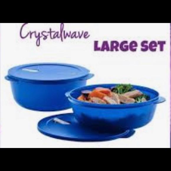 2 pc Tupperware CrystalWave Bowl set 3qt and 4qt